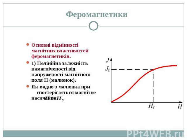 Основні відмінності магнітних властивостей феромагнетиків. Основні відмінності магнітних властивостей феромагнетиків. 1) Нелінійна залежність намагніченості від напруженості магнітного поля Н (малюнок). Як видно з малюнка при спостерігається магнітн…