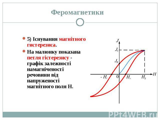 5) Існування магнітного гистерезиса. 5) Існування магнітного гистерезиса. На малюнку показана петля гістерезису - графік залежності намагніченості речовини від напруженості магнітного поля Н.