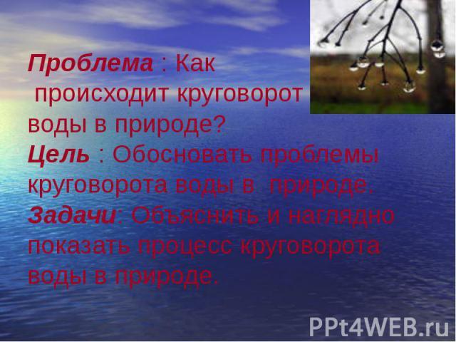 Проблема : Как происходит круговорот воды в природе? Цель : Обосновать проблемы круговорота воды в природе. Задачи: Объяснить и наглядно показать процесс круговорота воды в природе.