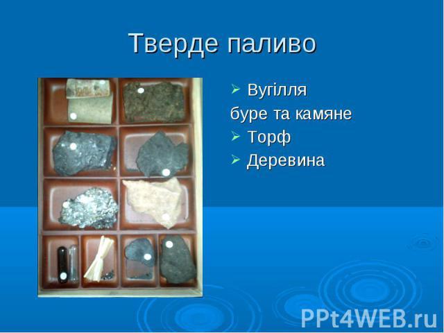 Вугілля Вугілля буре та камяне Торф Деревина