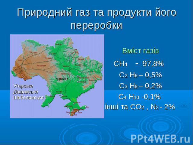 Вміст газів СН4 - 97,8% С2 Н6 – 0,5% С3 Н8 – 0,2% С4 Н10 -0,1% інші та СО2 , N2 - 2%