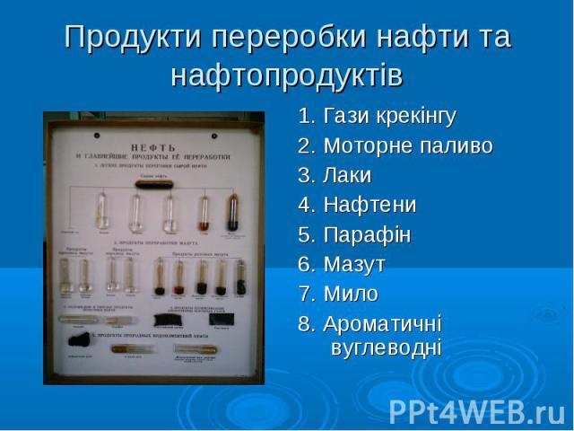 1. Гази крекінгу 1. Гази крекінгу 2. Моторне паливо 3. Лаки 4. Нафтени 5. Парафін 6. Мазут 7. Мило 8. Ароматичні вуглеводні