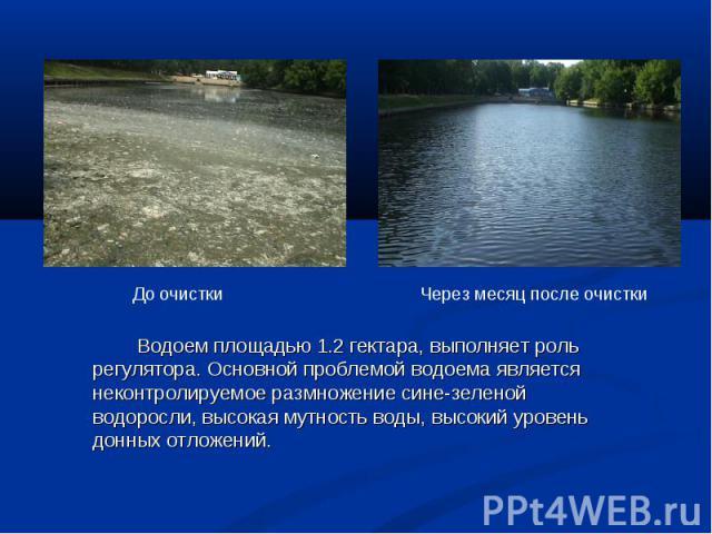 Водоем площадью 1.2 гектара, выполняет роль регулятора. Основной проблемой водоема является неконтролируемое размножение сине-зеленой водоросли, высокая мутность воды, высокий уровень донных отложений. Водоем площадью 1.2 гектара, выполняет роль рег…