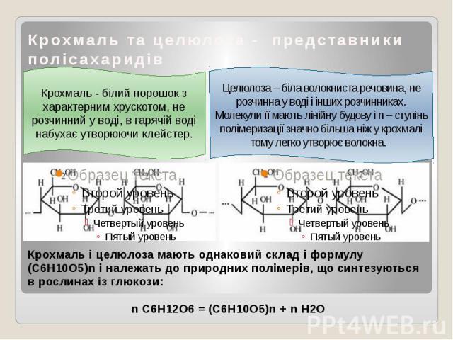 Крохмаль та целюлоза - представники полісахаридів