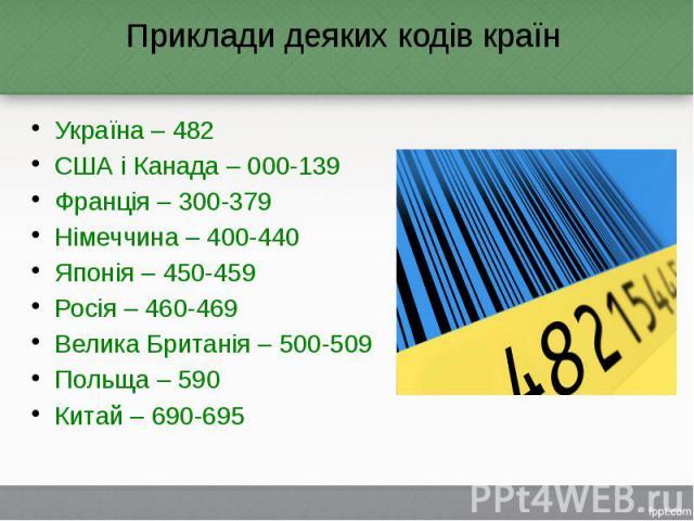 Приклади деяких кодів країн Україна – 482 США і Канада – 000-139 Франція – 300-379 Німеччина – 400-440 Японія – 450-459 Росія – 460-469 Велика Британія – 500-509 Польща – 590 Китай – 690-695