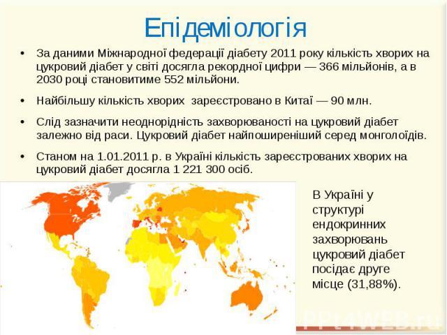 Епідеміологія За даними Міжнародної федерації діабету 2011 року кількість хворих на цукровий діабет у світі досягла рекордної цифри — 366 мільйонів, а в 2030 році становитиме 552 мільйони. Найбільшу кількість хворих зареєстровано в Китаї — 90 млн. С…