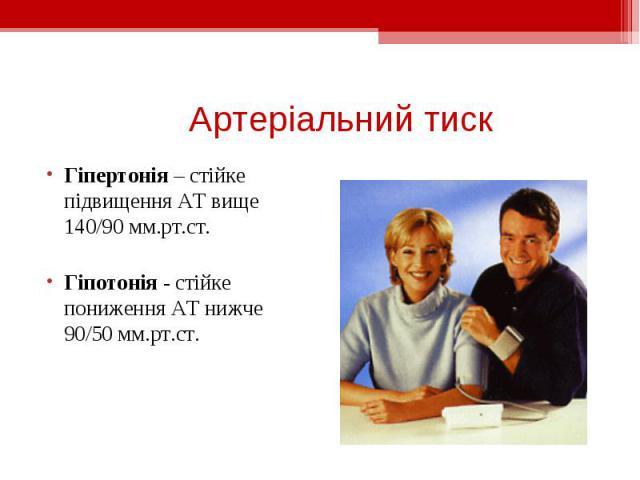 Гіпертонія – стійке підвищення АТ вище 140/90 мм.рт.ст. Гіпертонія – стійке підвищення АТ вище 140/90 мм.рт.ст. Гіпотонія - стійке пониження АТ нижче 90/50 мм.рт.ст.
