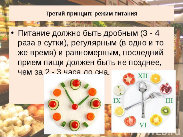 Третий принцип: режим питания Питание должно быть дробным (3 - 4 раза в сутки), регулярным (в одно и то же время) и равномерным, последний прием пищи должен быть не позднее, чем за 2 - 3 часа до сна.