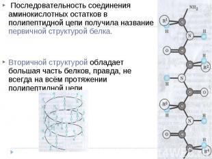 Последовательность соединения аминокислотных остатков в полипептидной цепи получ