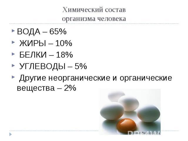 ВОДА – 65% ВОДА – 65% ЖИРЫ – 10% БЕЛКИ – 18% УГЛЕВОДЫ – 5% Другие неорганические и органические вещества – 2%