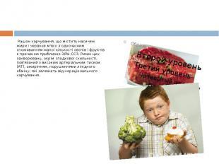 Раціон харчування, що містить насичені жири і червоне м'ясо з одночасним спожива