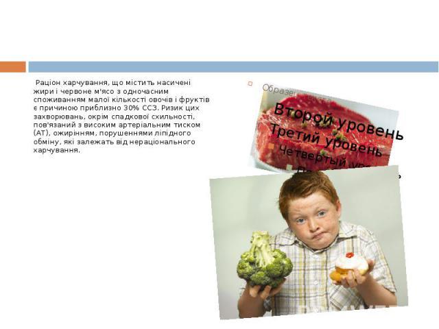 Раціон харчування, що містить насичені жири і червоне м'ясо з одночасним споживанням малої кількості овочів і фруктів є причиною приблизно 30% ССЗ. Ризик цих захворювань, окрім спадкової схильності, пов'язаний з високим артеріальним тиском (АТ), ожи…