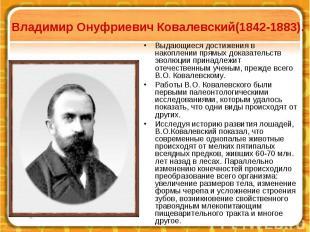 Владимир Онуфриевич Ковалевский(1842-1883). Выдающиеся достижения в накоплении п
