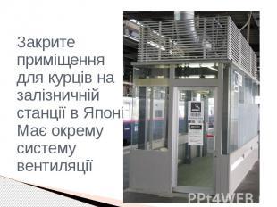 Закрите приміщення для курців на залізничній станції в Японії. Має окрему систем