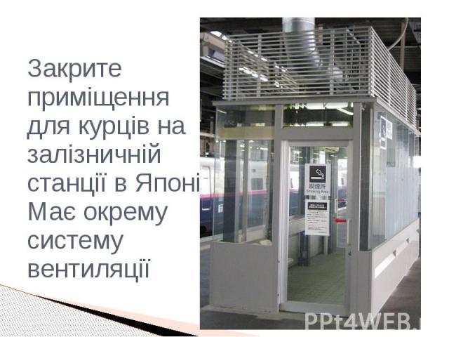 Закрите приміщення для курців на залізничній станції в Японії. Має окрему систему вентиляції