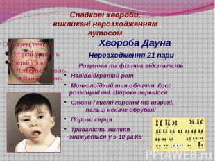 Спадкові хвороби, викликані нерозходженням аутосом