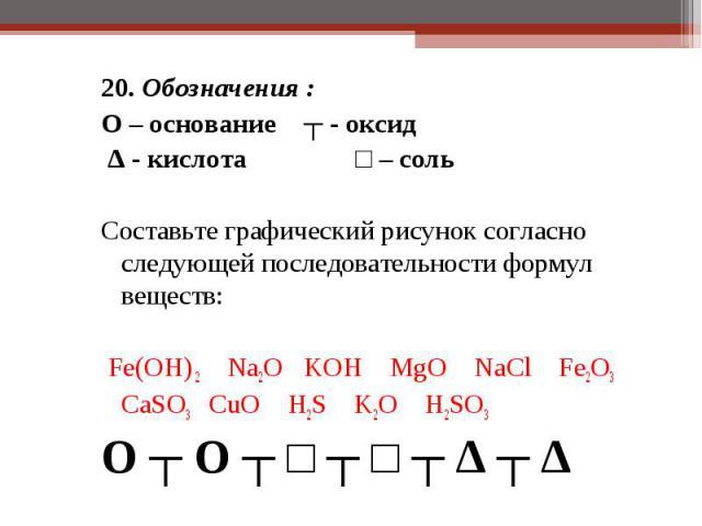 20. Обозначения : 20. Обозначения : O – основание ┬ - оксид ∆ - кислота □ – соль  Составьте графический рисунок согласно следующей последовательности формул веществ: Fe(OH) 2 Na2O KOH MgO NaCl Fe2O3 CaSO3 CuO H2S K2O H2SO3 O ┬ O ┬ □ ┬ □ ┬ ∆ ┬ ∆