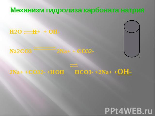 Механизм гидролиза карбоната натрия H2O H+ + OH- Na2CO3 2Na+ + CO32- 2Na+ +CO32- +HOH HCO3- +2Na+ +OH-