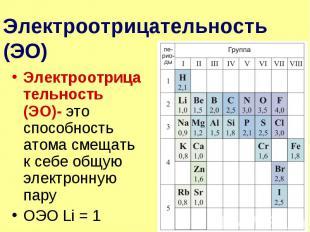 Электроотрицательность (ЭО) Электроотрицательность (ЭО)- это способность атома с