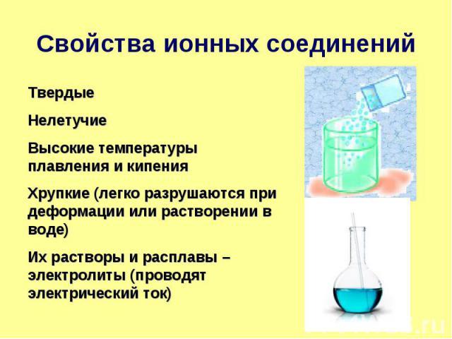 Свойства ионных соединений