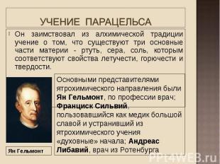Он заимствовал из алхимической традиции учение о том, что существуют три основны