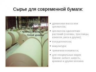 Сырье для современной бумаги: древесная масса или целлюлоза; целлюлоза однолетни