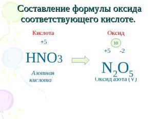 Кислота Кислота +5 HNO3 Азотная кислота