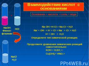 Na OH +H CI = Na CI + H2O Na+ + OH - + H + + CI- = Na+ + CI - + H2O Н+ + OH - =