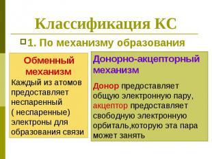 Классификация КС 1. По механизму образования