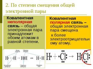 2. По степени смещения общей электронной пары Ковалентная неполярная связь – общ
