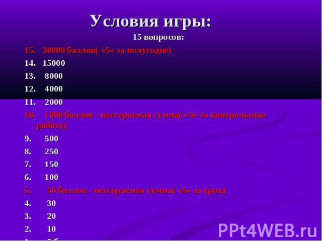 15 вопросов: 15 вопросов: 15. 30000 баллов( «5» за полугодие) 14. 15000 13. 8000 12. 4000 11. 2000 10. 1000 баллов - несгораемая сумма( «5» за контрольную работу) 9. 500 8. 250 7. 150 6. 100 5. 50 баллов - несгораемая сумма( «5» за урок) 4. 30 3. 20…