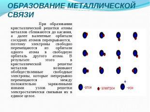При образовании кристаллической решетки атомы металлов сближаются до касания, а