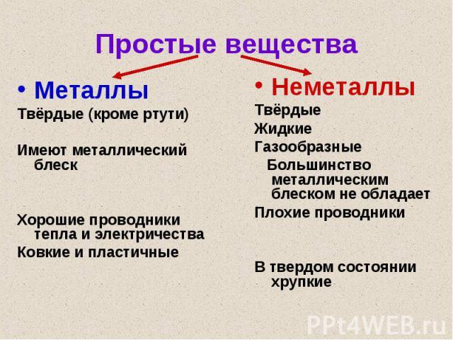 Простые вещества Металлы Твёрдые (кроме ртути) Имеют металлический блеск Хорошие проводники тепла и электричества Ковкие и пластичные