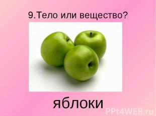 9.Тело или вещество? яблоки