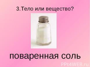 3.Тело или вещество? поваренная соль