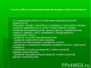 Составляющие работы по обучению функциональной грамотности: Обучение чтению: спо