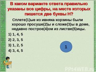 Сплете(1)ые из ивняка корзины были хорошо просуше(2)ы и сложе(3)ы в доме, недавн