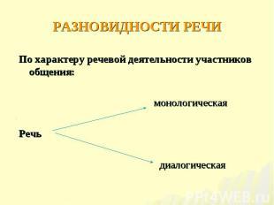По характеру речевой деятельности участников общения: По характеру речевой деяте