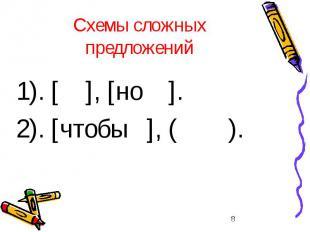 Схемы сложных предложений 1). [ ], [но ]. 2). [чтобы ], ( ).