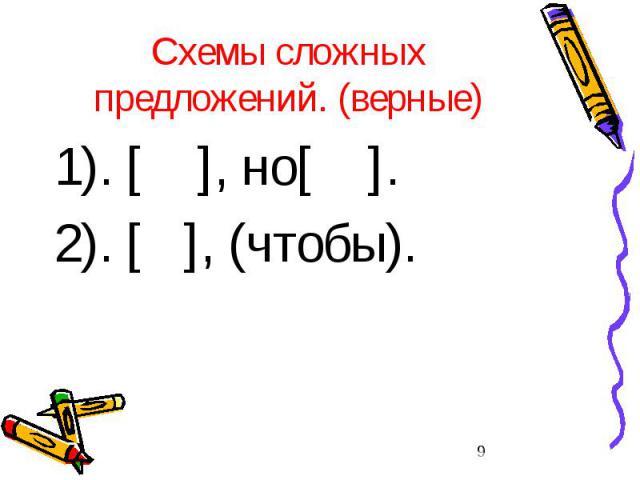 Схемы сложных предложений. (верные) 1). [ ], но[ ]. 2). [ ], (чтобы).