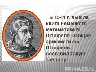 В 1544 г. вышла книга немецкого математика М. Штифеля «Общая арифметика». Штифел