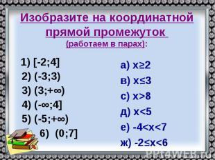 Изобразите на координатной прямой промежуток (работаем в парах): 1) [-2;4] 2) (-