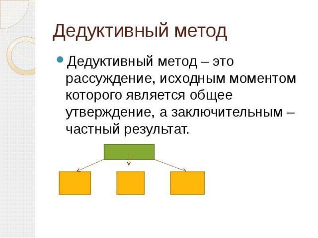 Дедуктивный метод Дедуктивный метод – это рассуждение, исходным моментом которого является общее утверждение, а заключительным – частный результат.
