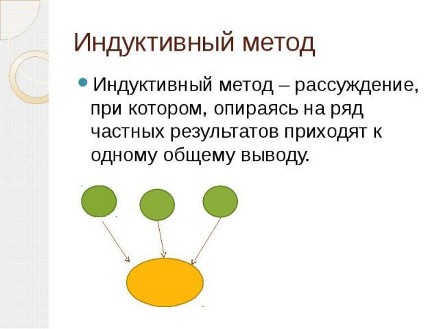 Индуктивный метод Индуктивный метод – рассуждение, при котором, опираясь на ряд частных результатов приходят к одному общему выводу.