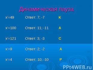 x2=49 Ответ: 7; -7 К x2=49 Ответ: 7; -7 К x2=100 Ответ: 11; -11 А x2=121 Ответ: