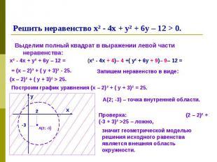 Выделим полный квадрат в выражении левой части неравенства: Выделим полный квадр