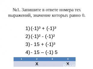 №1. Запишите в ответе номера тех выражений, значение которых равно 0. (-1)³ + (-