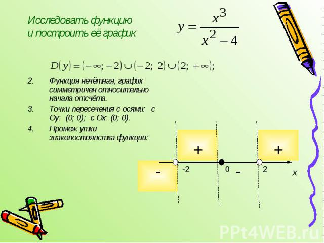 Функция нечётная, график симметричен относительно начала отсчёта. Точки пересечения с осями: с Оу: (0; 0); с Ох: (0; 0). Промежутки знакопостоянства функции: