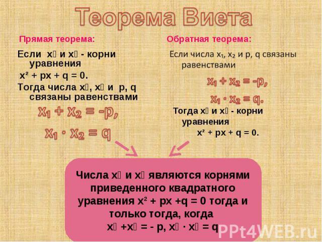 Прямая теорема: Прямая теорема: