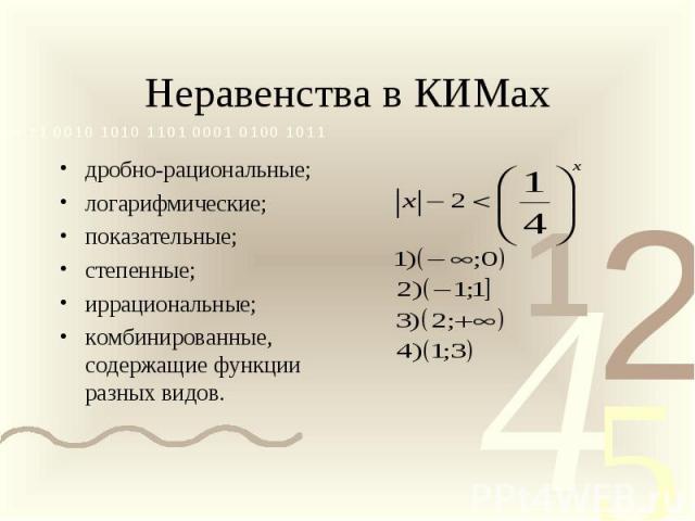 Неравенства в КИМах дробно-рациональные; логарифмические; показательные; степенные; иррациональные; комбинированные, содержащие функции разных видов.